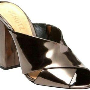 SCHUTZ Metal Brown Maisie High Heel Sandals